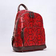 baratos Mochilas-Mulheres Bolsas Pele mochila Ziper Preto / Cinzento Claro / Vermelho