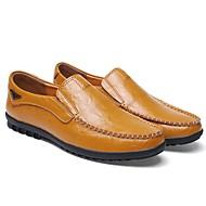 tanie Obuwie męskie-Męskie Skórzane buty Skóra Jesień i zima Casual Mokasyny i buty wsuwane Antypoślizgowe Czarny / Pomarańczowy / Brązowy
