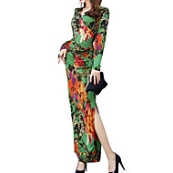 Women's Party Going out Basic Maxi Slim Sheath Dress - Floral Lace V Neck Spring Cotton Green L XL XXL / Sexy