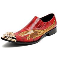 tanie Obuwie męskie-Męskie formalne Buty Skóra nappa Jesień W stylu brytyjskim Mokasyny i buty wsuwane Antypoślizgowe Czerwony / Impreza / bankiet