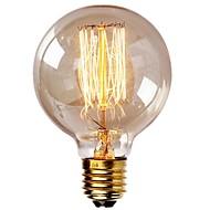 billige Glødelampe-1pc vintage edison pærer med spiral filament 40w dimbar e27 g95 runde verden stor antikke lys gylden finish industriell design rav