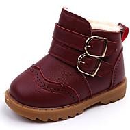 baratos Sapatos de Menino-Para Meninos / Para Meninas Sapatos Couro Ecológico Outono & inverno Conforto / Botas de Neve Botas Velcro para Infantil / Bébé Preto / Marron / Vinho / Botas Curtas / Ankle