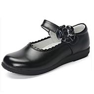 baratos Sapatos de Menina-Para Meninas Sapatos Pele Primavera & Outono Sapatos para Daminhas de Honra Rasos Flor / Velcro para Infantil / Adolescente Branco / Preto / Rosa claro