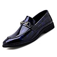 Męskie Komfortowe buty PU Jesień Biznes Mokasyny i buty wsuwane Antypoślizgowe Kolorowy blok Czarny / Niebieski