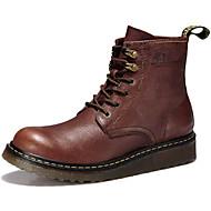 baratos Sapatos Masculinos-Homens Fashion Boots Pele Napa Inverno Esportivo / Vintage Botas Manter Quente Botas Cano Médio Preto / Marron