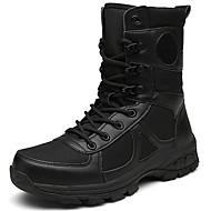 baratos Sapatos Masculinos-Homens Coturnos Lona / Pele Inverno Esportivo / Vintage Botas Manter Quente Botas Cano Médio Preto