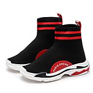 baratos Sapatos de Menino-Para Meninos Sapatos Tecido elástico Primavera & Outono Conforto Tênis Caminhada Cadarço de Borracha para Infantil / Adolescente Branco / Preto / Preto / Vermelho