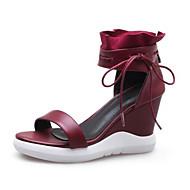 baratos Sapatos Femininos-Mulheres Sandálias Anabela Pele Napa Verão Sandálias Salto Plataforma Preto / Vinho