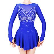 Robe de Patinage Artistique Femme Fille Patinage Robes Bleu royal Spandex Fil élastique Haute élasticité Professionnel Compétition Tenue de Patinage Fait à la main Mode Manches Longues Patinage sur