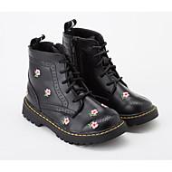 tanie Obuwie dziewczęce-Dla dziewczynek Obuwie Mikrowłókno Zima Obuwie w stylu wojskowym Botki Satynowy kwiatek na Dzieci Biały / Czarny