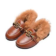 baratos Sapatos de Menina-Para Meninas Sapatos Couro Ecológico Inverno / Outono & inverno Conforto Rasos Caminhada Presilha para Infantil / Adolescente Preto / Marron / Vermelho