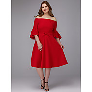 A-Linie Schulterfrei Knie-Länge Stretch - Satin Cocktailparty Kleid mit Schärpe / Band durch TS Couture®