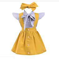 Toddler เด็กผู้หญิง หวาน รูปเรขาคณิต เสื้อไม่มีแขน กระโปรงชุด สีเหลือง