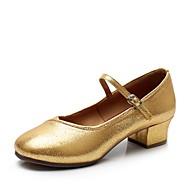 billige Kustomiserte dansesko-Dame Moderne sko Fuskelær Høye hæler Tykk hæl Kan spesialtilpasses Dansesko Svart / Sølv / Rød