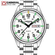 Carnival Herr Armbandsur Quartz Rostfritt stål Vit 30 m Vattenavvisande Vardaglig klocka Dykning Ramtyp Berlock Mode - Vit Vit+Blå