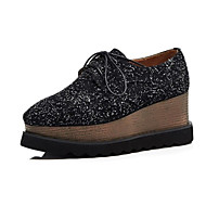 cheap -Women's Nappa Leather Summer Oxfords Creepers Black / Brown