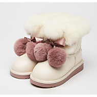 baratos Sapatos de Menina-Para Meninas Sapatos Couro Ecológico Inverno Botas de Neve Botas Laço / Pom Pom para Preto / Bege / Botas Cano Médio