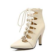 baratos Sapatos Femininos-Mulheres Couro Ecológico Primavera & Outono Botas Salto Agulha Dedo Apontado Botas Cano Médio Preto / Bege / Vermelho