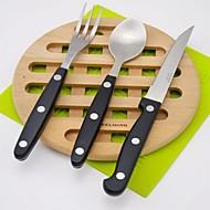 billiga Bordsservis-servis 3pcs Miljövänlig Värmetålig Ny Design Plast och metall Rostfritt stål Plast Middagsgaffel Middagskniv