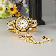 billige Quartz-FEIS Dame Armbåndsur Quartz Kronograf Legering Bånd Analog-digital Mode Guld - Sort
