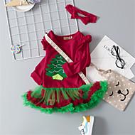 Baby Pige Aktiv Jul / Ferie / I-byen-tøj Planter Blonder / Broderi Langærmet Over knæet Bomuld / Polyester Kjole Rød 100