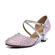 billige Kustomiserte dansesko-Dame Moderne sko Blonder Høye hæler Kubansk hæl Kan spesialtilpasses Dansesko Sølv / Blå / Rosa