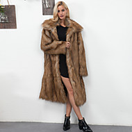 cheap -Women's Daily / Going out / Work Vintage / Active Fall / Winter Maxi Fur Coat, Solid Colored Peaked Lapel Long Sleeve Faux Fur / Polyester Brown / White XL / XXL / XXXL