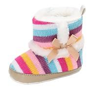 baratos Sapatos de Menino-Para Meninos / Para Meninas Sapatos Com Transparência / Tecido elástico Inverno Conforto / Primeiros Passos Botas Laço para Bebê Azul Claro / Rosa Claro / Listrado