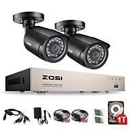 billige DVR-Sett-zosi® 4-hd-tvi 720p dvr innebygd 1 tb hdd med 2 stk hd 1280tvl innendørs / utendørs værbestandig cctv kamera