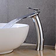 Torneira pia do banheiro - Cascata Cromado Conjunto Central Monocomando e Uma AberturaBath Taps