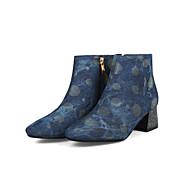 baratos Sapatos Femininos-Mulheres Sintéticos Outono & inverno Minimalismo Botas Salto Robusto Dedo Fechado Botas Cano Médio Preto / Azul Escuro / Azul / Festas & Noite