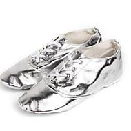 billige Ballettsko-Dame Ballettsko PU Flate Tykk hæl Dansesko Gull / Sølv