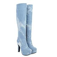 baratos Sapatos Femininos-Mulheres Jeans / Sintéticos Verão Botas Salto Robusto Dedo Fechado Botas Cano Alto Azul Escuro / Azul Claro