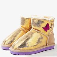 baratos Sapatos de Menina-Para Meninas Sapatos Pele Inverno Botas de Neve Botas Lantejoulas para Adolescente Dourado / Fúcsia / Rosa claro / Botas Curtas / Ankle