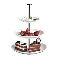 billiga Bordsservis-tre lager runda garn parti bakverk fat frukt skålar whorl tallrik teatime hög te efterrätt bricka cp0010