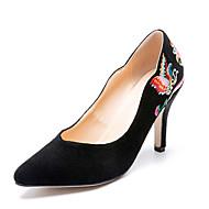 baratos Sapatos Femininos-Mulheres Pêlo Sintético Primavera & Outono Temática Asiática Saltos Salto Agulha Dedo Apontado Preto / Festas & Noite