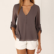 cheap -Women's Going out Casual Loose Blouse - Solid Colored Deep V Coffee XXXL / Summer