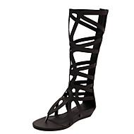 baratos Sapatos Femininos-Mulheres Couro Ecológico Primavera & Outono Formais Botas Sem Salto Dedo Aberto Botas Cano Médio Dourado / Preto