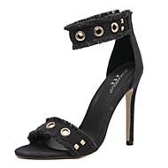 baratos Sapatos Femininos-Mulheres Jeans Primavera Verão Sandálias Salto Agulha Dedo Aberto Tachas Preto / Verde