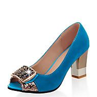 cheap Women's Heels-Women's Synthetics Spring & Summer Heels Chunky Heel Peep Toe Rhinestone Fuchsia / Green / Blue / Party & Evening