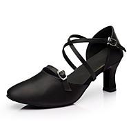 billige Moderne sko-Dame Moderne sko Sateng Høye hæler Tvinning Kubansk hæl Kan spesialtilpasses Dansesko Svart