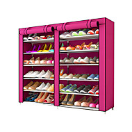 billige Skostativer & Bøjler-Skohylder og skobøjler Ikke-strikket Stof 36 par Unisex Chokolade / Rosa / # Rødvin (Anti-Rynke)