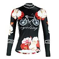ILPALADINO Mujer Manga Larga Maillot de Ciclismo - Negro Flores / Botánica Bicicleta Top Resistente a los UV Deportes Invierno Elastán Ciclismo de Montaña Ciclismo de Pista Ropa