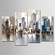 cheap Gallery Wall Art-Hand-Painted Canvas Oil Painting Abstract City Landscape Set Of 4 For Home Decoration With Frame Ready To Hang