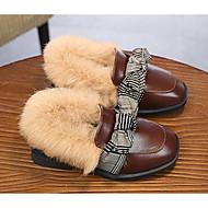 baratos Sapatos de Menina-Para Meninas Sapatos Couro Outono & inverno Mocassim / Forro de peles Mocassins e Slip-Ons Laço para Bébé Preto / Marron