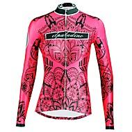 ILPALADINO Mulheres Manga Longa Camisa para Ciclismo - Vermelho Floral / Botânico Moto Blusas Resistente Raios Ultravioleta Esportes Inverno Elastano Ciclismo de Montanha Ciclismo de Estrada Roupa
