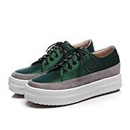 baratos Sapatos Femininos-Mulheres Camurça / Seda Primavera & Outono Casual Tênis Creepers Ponta Redonda Preto / Verde