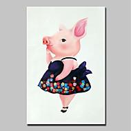 billiga Abstrakta målningar-Hang målad oljemålning HANDMÅLAD - Abstrakt / Popkonst Moderna Duk