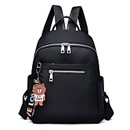 cheap High School Bags-Women's Bags Oxford Cloth Backpack Zipper Solid Color Black