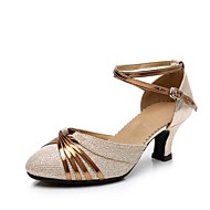 Mulheres Sintéticos Sapatos de Dança Moderna Lantejoula Salto Salto Cubano Personalizável Dourado / Prata / Espetáculo / Ensaio / Prática